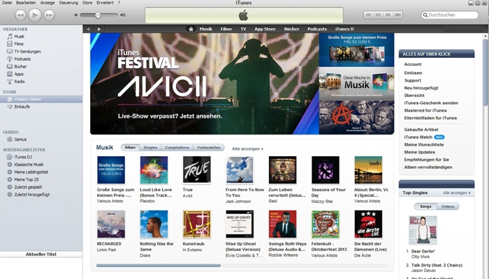 Apple iTunes Shop für Musik-Downloads