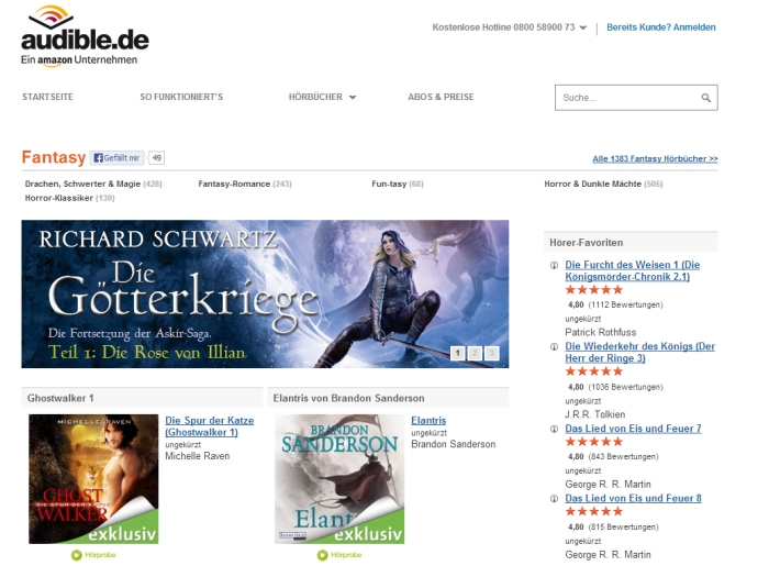 Audible.de Download-Plattform für Hörbücher